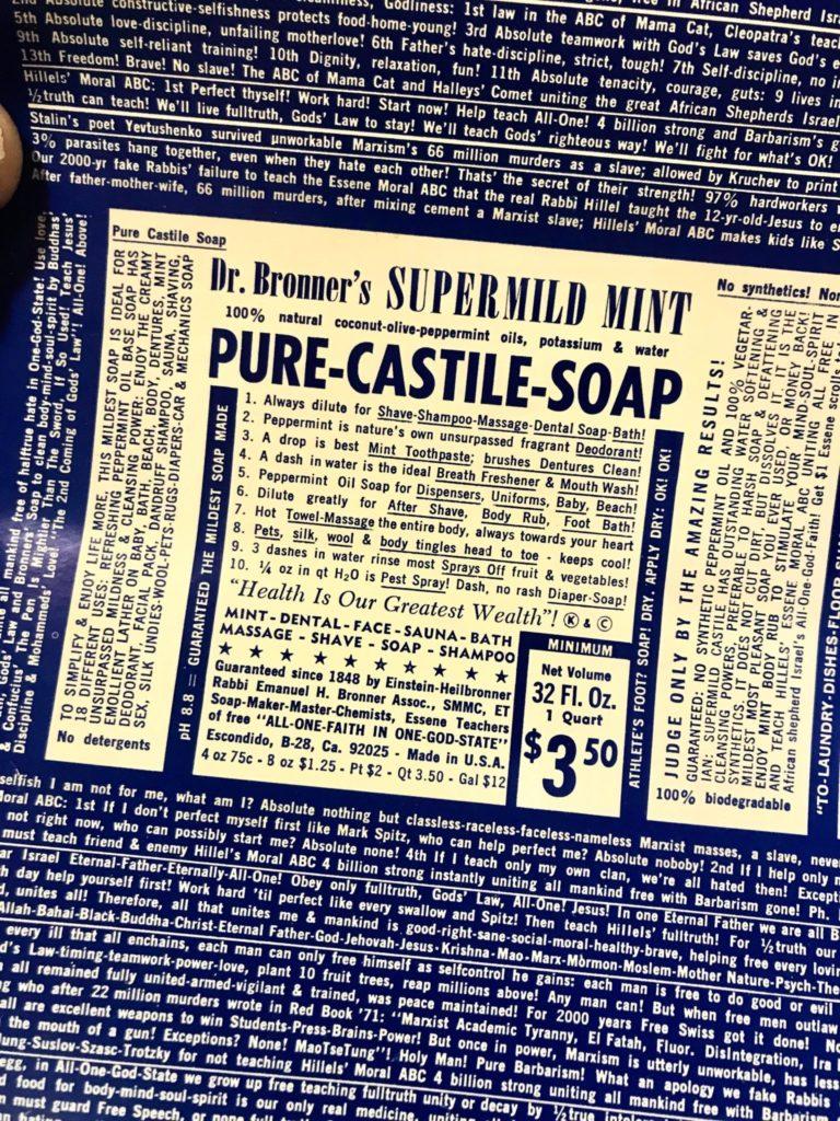 Dr. Bronner soap label